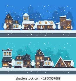 Snow winter city. Urban landscape with christmas season houses holiday buildings landscape
