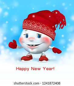 Snowball. Snowman in red Christmas hat in winter. New year. 3 D illustration.