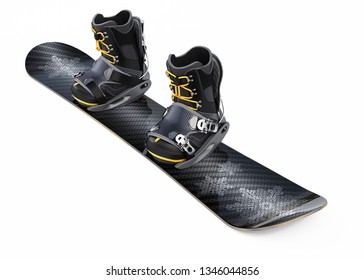 Snowboard with Boots isolated on White Background. 3D illustration