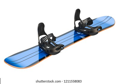 Snowboard with strap-in bindings, 3D rendering isolated on white background