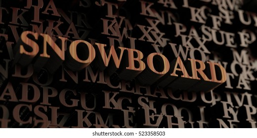 Snowboard - Wooden 3D rendered letters/message.  Can be used for an online banner ad or a print postcard.