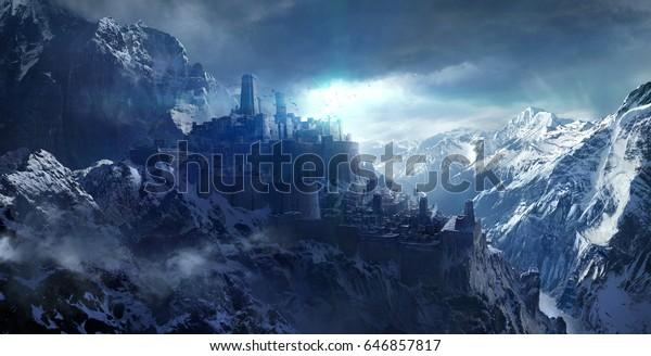 Заснеженные горы между замком, 3d рендеринг.