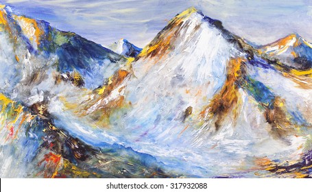 Snow-capped mountains. Valley, mountain landscape. Painting, pictorial art
