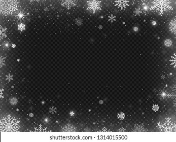 Snowed border frame. Christmas holiday snow, clear frost blizzard snowflakes and silver snowflake. White sequins flake falling on new year holiday party  illustration