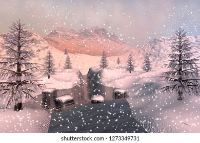 Snowfall, 3d rendering, an alpine landscape, coniferous trees  next to the river, snowy mountains and a cloudy sky.