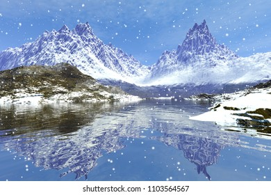 Snowfall, 3D rendering, a winter landscape, wonderful mountains, snow on the ground, reflection in water and a cloudy sky.