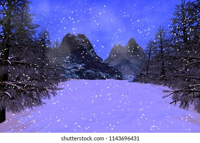 Snowfall, 3D rendering, a winter landscape, beautiful trees and fog in the mountains.