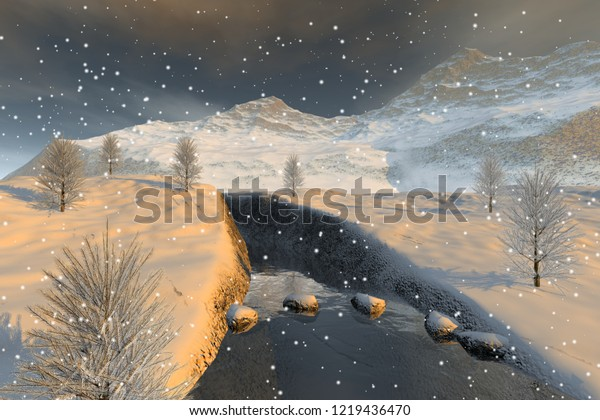 Snowfall, 3d rendering, a winter landscape, a beautiful river, coniferous trees and clouds in the sky.