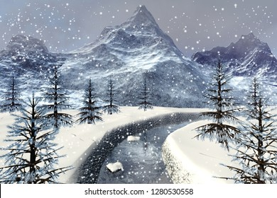 Snowfall, 3d rendering,a winter landscape, snowy stones in the river, beautiful trees, mountains and a cloudy sky.
