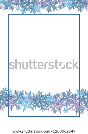 snowflake border decorated rectangular frame template stock