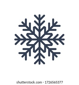 Snowflake icon. Black silhouette snow flake sign, isolated on white background. Flat design. Symbol of winter, frozen, Christmas, New Year holiday. Graphic element decoration illustration