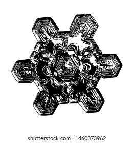 Snowflake isolated on black background. Illustration based on macro photo of real snow crystal: unusual, rare star plate with triangular structure, glossy relief surface and complex inner details.