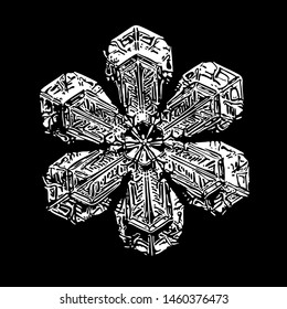 Snowflake isolated on black background. Illustration based on macro photo of real snow crystal: simple star plate with fine hexagonal symmetry, short, broad arms and glossy relief surface.