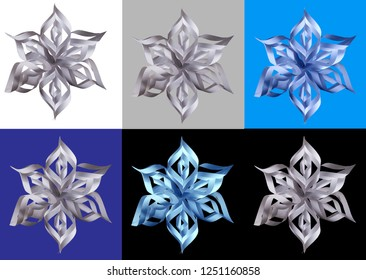 Snowflake. Origami. Paper plastic. Object on white, gray, blue, blue, black background.