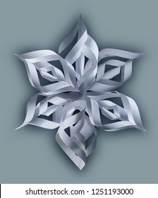 Snowflake. Origami. Paper plastic. Object on a gray background.