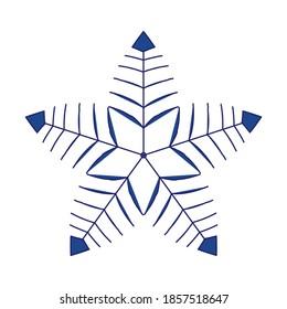 Snowflake simple line logo. Winter isolated silhouette icon. Jpeg illustration