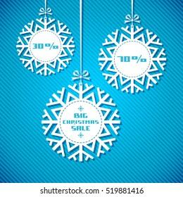 Snowflake tag - Christmas sale. Winter vintage background. Decorative illustration for print, web