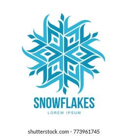 Snowflake templates on white background. Geometrical abstract snowflake logo, frozen product, Christmas celebration, winter activities logo design.