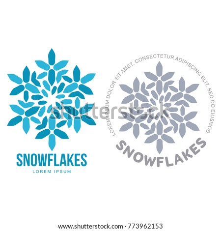 Snowflake Templates On White Background Geometrical Abstract Logo Frozen Product Christmas Celebration