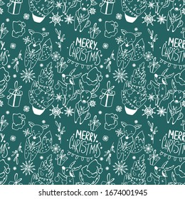 Snowflake, tree, deer, fox, merry christmas seamless pattern square doodle outline digital art on green background. Print for wrapping paper, cards, banners, posters, web, fabrics, invitations.