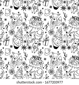 Snowflake, tree, deer, fox, merry christmas seamless pattern square doodle outline digital art on white background. Print for wrapping paper, cards, banners, posters, web, fabrics, invitations.