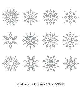 Snowflakes icon collection. Graphic modern grey ornament.