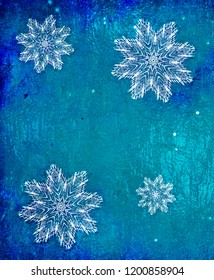Snowflakes over icy blue background - bright 3D illustration with painted effect
