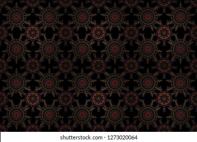 Snowflakes pattern in purple, orange and red colors. Raster christmas abstract black background with falling snowflakes.