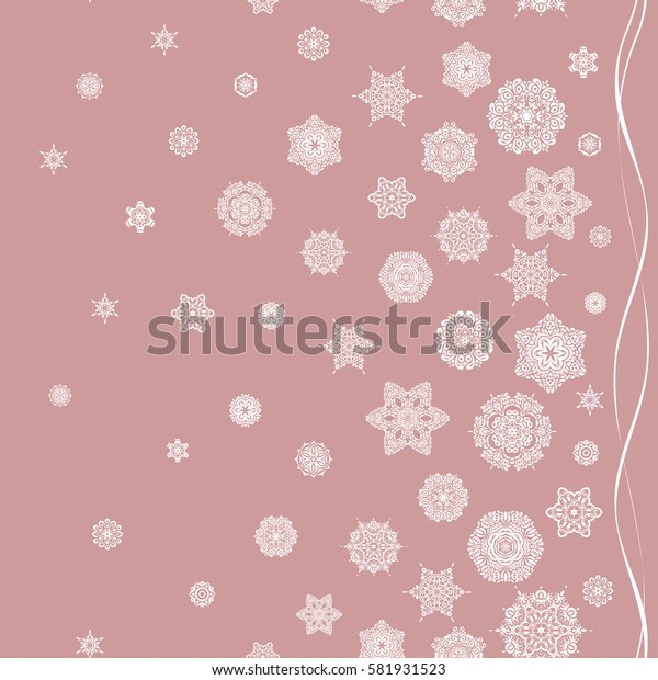 Snowflakes pattern. Snowflake seamless pattern. Flat design with abstract snowflakes isolated on neutral background. Snowflakes background.