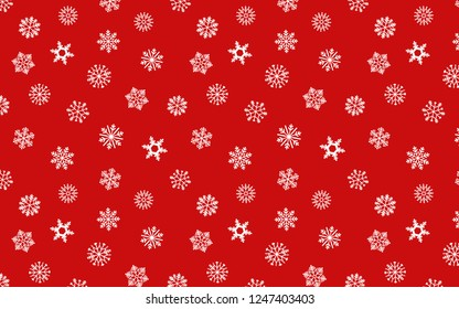 Snowflakes seamless pattern on red color background for wallpaper and gift wrapping paper.