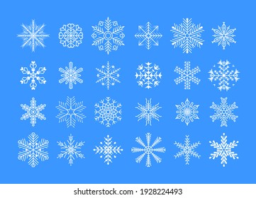 Snowflakes set. Snowflakes collection for design Christmas and New Year banner and cards. Winter set of white snowflakes isolated on blue background.