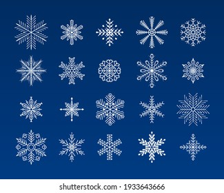 Snowflakes set. Snowflakes collection for design Christmas and New Year banner and cards. Winter flat vector decorations elements. Winter set of white snowflakes isolated on blue background.
