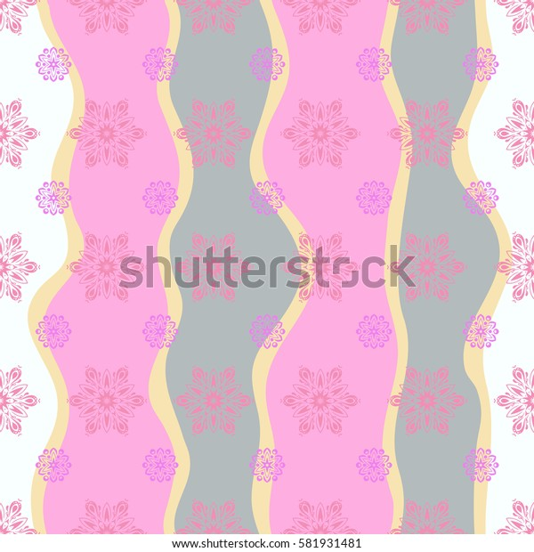 Snowflakes, snowfall. Beautiful pink snowflakes isolated on a wave background. Illustration. Falling Christmas stylized snowflakes.