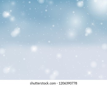 Snowing blue sky background
