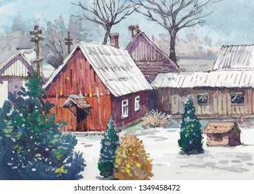 snowing old cottage watercolor painting