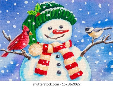 Snowman and birds. Merry Christmas. Cold winter season with snow.