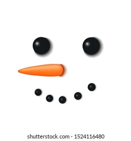 Snowman face 3D. Realistic snowman isolated white background. Cartoon graphic design. Comic expression costume. Funny face, carrot, coals eyes, pebbles mouth. Smiling simple face illustration