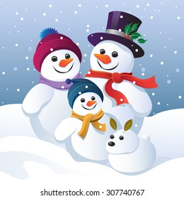 Snowman family group and snow dog in a winter landscape