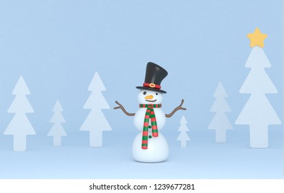 Snowman in forest scene. Isolated.