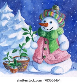 Snowman gardener with a garden in a pot. Snow forest background. Hand drawing painted watercolor hobby card.  Winter sale of goods for home and garden banner.