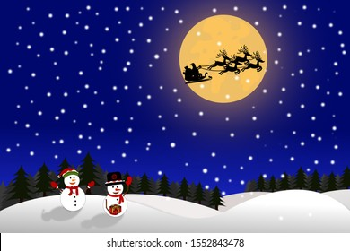 Snowman gets a gift from that Santa Claus flying with reindeers on sky in snowing full moon night.