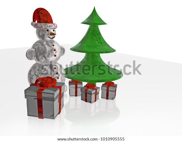 Snowman Gift Boxes Fir White Reflective Stock Illustration 1010905555
