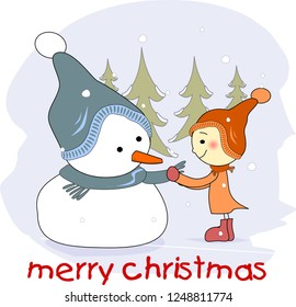 Snowman and a girl wishes merry christmas