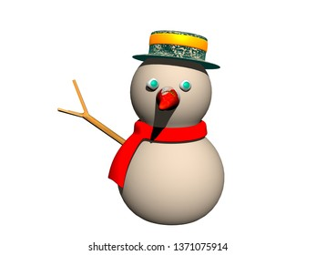 Snowman with hat and scarf in winter 3D rendering