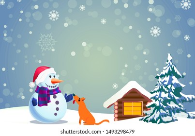 Snowman, house, tree and dog in winter New Year illustration