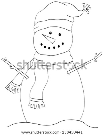 Snowman Line Drawing Coloring Page Stock Illustration