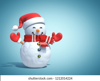 Snowman on blue background 3d rendering