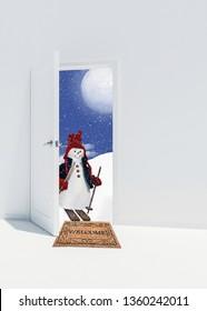 snowman on skis on welcome door mat in doorway with winter moon background