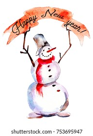 """Snowman with red poster and text """"Happy new year"""", watercolor Christmas illustration isolated on white background."""