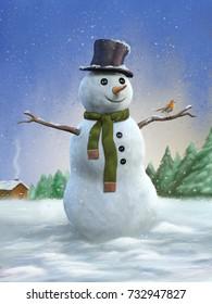 Snowman and robin in a winter landscape. Digital illustration.